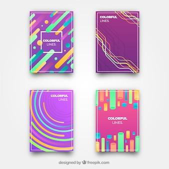 Cover sjablooncollectie met kleurrijke lijnen