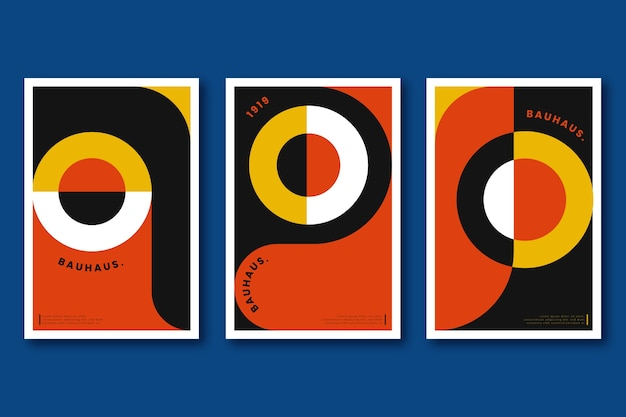 Covercollectie met grafisch ontwerp in bauhaus-stijl