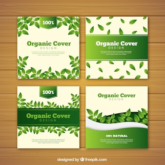 Covercollectie met platte bladeren