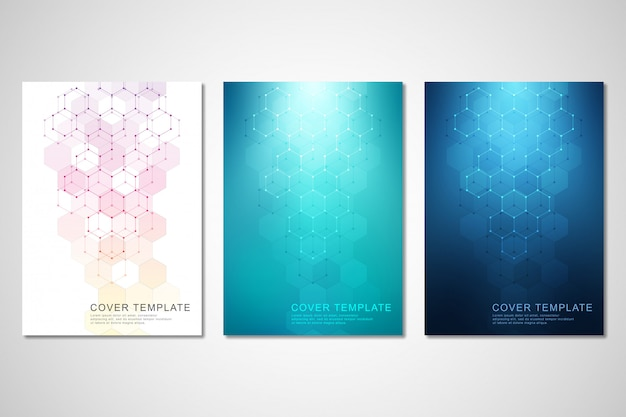 Covers of brochure voor geneeskunde, wetenschap en digitale technologie.