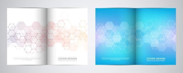 Covers of brochures voor geneeskunde, wetenschap en digitale technologie.