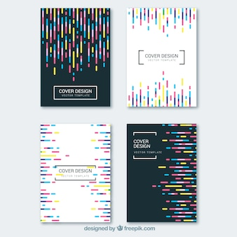 Coverscollectie met kleurrijke lijnen