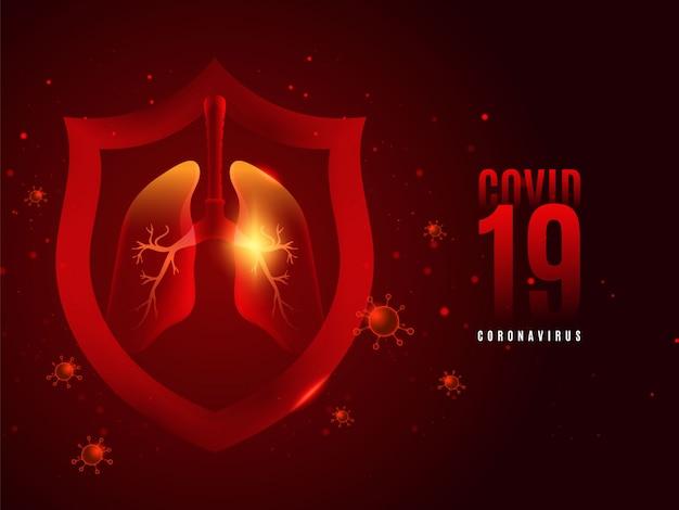 Covid-19 achtergrond met rode achtergrond