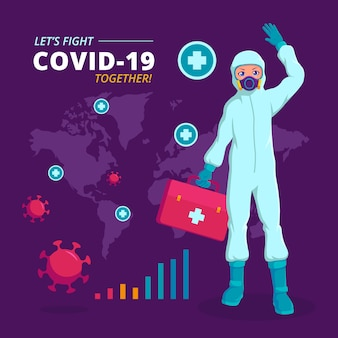 Covid-19 arts die hazmat-pak infographic illustratie draagt