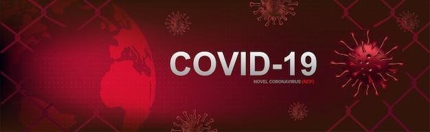 Covid-19-banner, uitbraak van coronavirus en griep in 2020. waarschuw gevallen van covid-19-stammen als een pandemie. ziekte cellen illustratie concept
