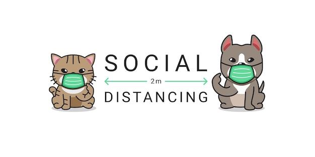Covid-19 bescherming concept cartoon schattige kat en hond dragen beschermend gezichtsmasker sociale afstand nemen