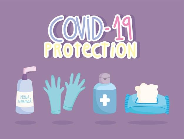 Covid 19 bescherming handschoenen tissuepapier en desinfecteren flessen iconen vector illustratie