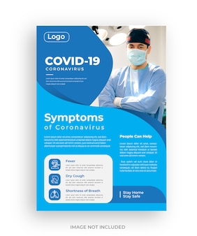 Covid 19 corona virus symptomen flyer sjabloonontwerp