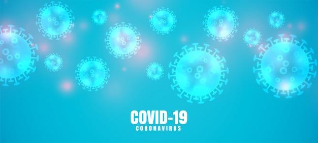 Covid-19 coronavirus blauwe banner met virusverspreiding