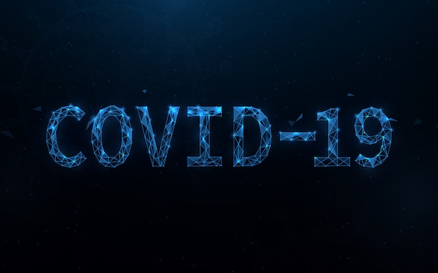 Covid-19 coronavirus concept typografieontwerp vormt lijnen, driehoeken en deeltjesstijlontwerp