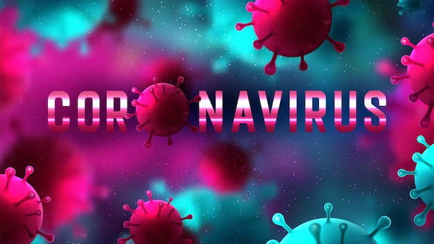 Covid-19 coronavirus, illustratie van viruscellen
