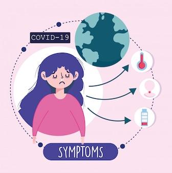 Covid 19 coronavirus infographic, symptomen en het voorkomen van ziekte verspreid wereld illustratie