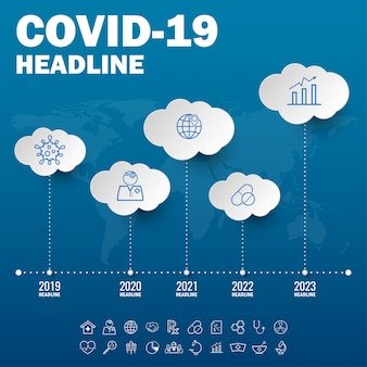 Covid 19 coronavirus pictogram teken banner.coronavirus uitbraak covid-19 2019-ncov-symptomen in de wereld.