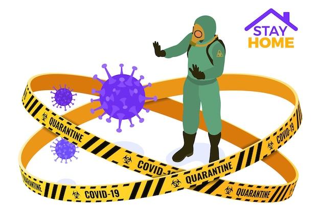 Covid-19 coronavirus quarantaine blijf thuis. dokter in chemische beschermende kleding overall en gasmaskers stoppen het coronavirus. quarantaine van pandemische covid-19-uitbraak. geïsoleerde isometrische vector