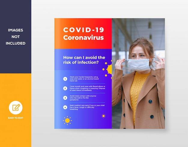 Covid-19 coronavirus social media post-sjabloon voor spandoek