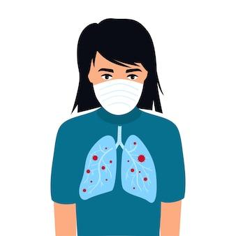 Covid-19. coronavirus symptomen. een kind met longen besmet met coronavirus