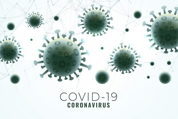 Covid 19 coronavirus verspreidde achtergrond met viruscellen