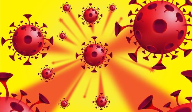 Covid 19 coronavirusbanner met microscopisch kleine virussen
