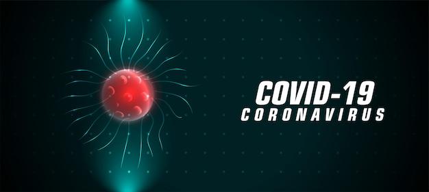 Covid-19 coronavirusbanner met rood geïnfecteerd virus
