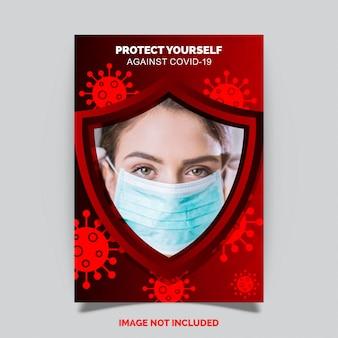 Covid-19 coronavirusbescherming, flyer-ontwerp