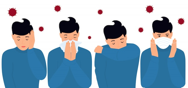 Covid-19. coronaviruspreventie en symptomen. hoofdpijn. de man zet een beschermend masker op, niest op de elleboog, in een servet.