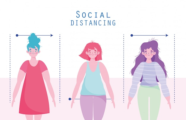 Covid 19 coronaviruspreventie vrouwen karakters sociale afstand
