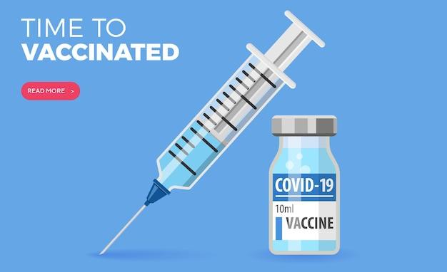 Covid-19 coronavirusvaccin. spuit- en vaccinflacon plat pictogrammen. behandeling voor coronavirus covid-19. tijd om te vaccineren. geïsoleerde vectorillustratie