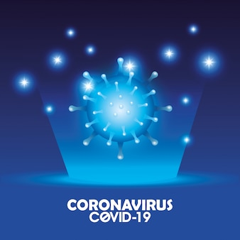 Covid 19 deeltje en belettering van campagne-achtergrond