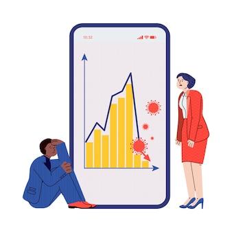 Covid-19 financiële crisis - trieste zakenmensen kijken naar beurscrash