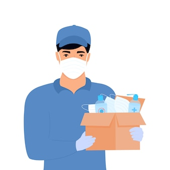 Covid-19. humanitaire hulp. levering van medische beschermingsmaskers en ontsmettingsmiddelen. corona-epidemie. bezorger die pakket levert