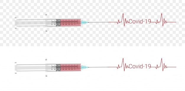 Covid-19-injectie. corona virus blood realistische transparante kunststof of glas illustratie. gezondheidszorg en medisch conceptontwerp