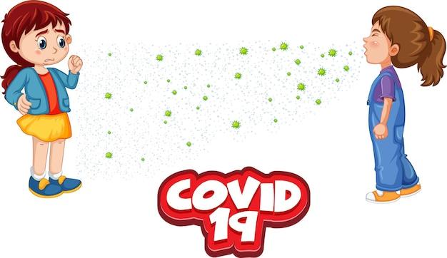 Covid-19-lettertype in cartoonstijl met een meisje kijkt naar haar vriend die niest geïsoleerd op een witte achtergrond