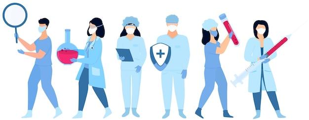 Covid-19. medische werkers. een arts met een spuit. lab medewerker. verpleegkundige met een fles. vaccin ontwikkeling. coronabehandeling.