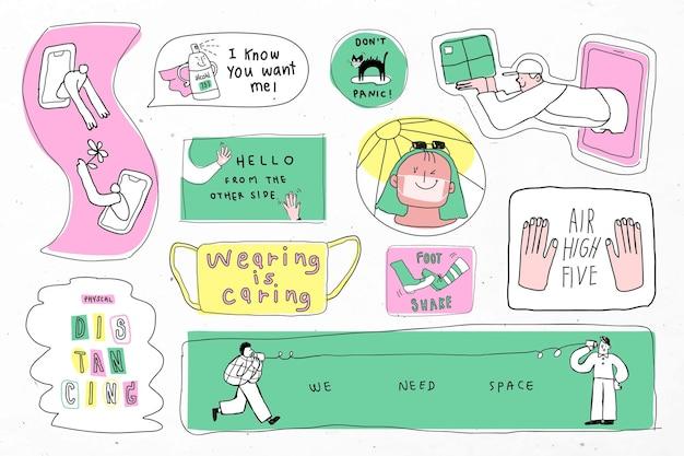Covid-19 nieuwe normale levensstijl schattige doodle stickercollectie