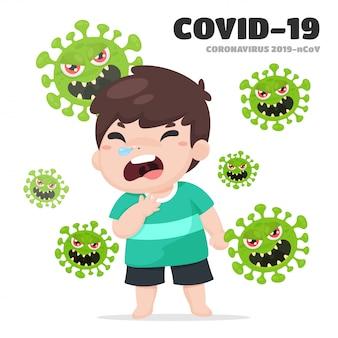 Covid-19 of corona-virus. chinese kinderen met een hoest van een nieuwe stam van het coronavirus