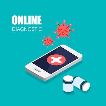 Covid-19 online diagnostisch virus. dokter in je smartphone. isometrische webbanner voor bestemmingspagina.
