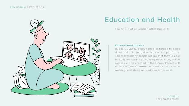 Covid-19 online onderwijssjabloon vector nieuwe normale presentatie doodle illustratie