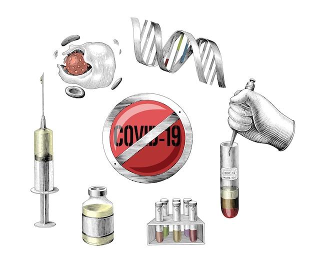 Covid-19 ontwikkeling vaccin hand tekenen gravure stijl illustraties op wit