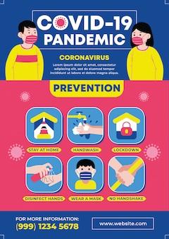 Covid-19 pandemiepreventie infographic.