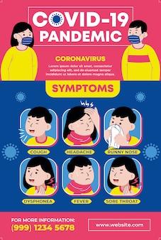 Covid-19 pandemische symptomen infographic.