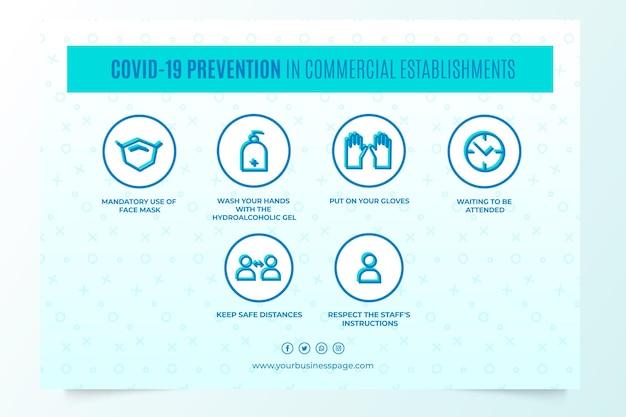 Covid-19-preventie in commerciële instellingen Gratis Vector