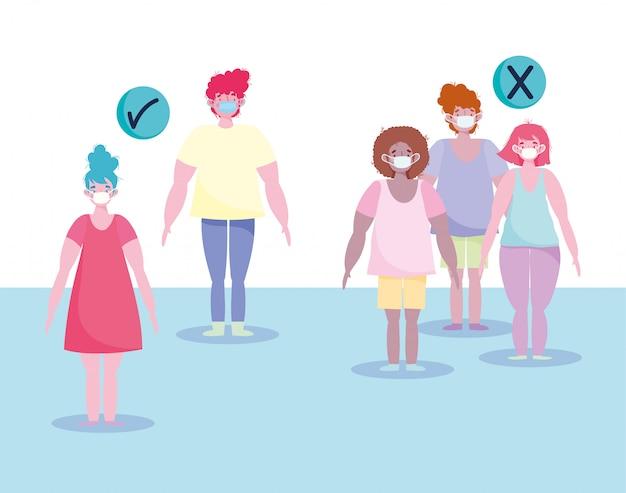 Covid 19, preventie van sociale afstand en gebruik van medisch masker, voorzorgsmaatregel bij infectie