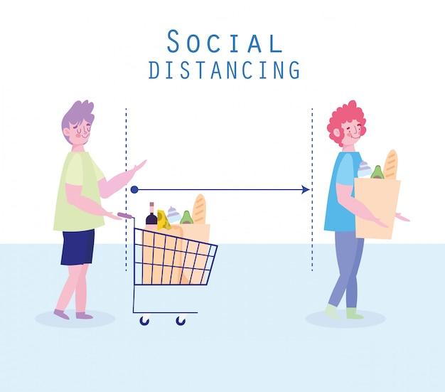 Covid 19, preventie van sociale afstand, vrouw en man staan in de rij bij de kruidenier