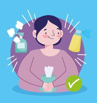 Covid 19 preventieman met desinfecterende spray en antibacterieel