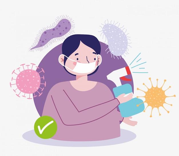 Covid 19 preventieman met medisch masker en spray desinfectiemiddel
