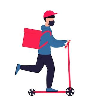 Covid-19. quarantaine. corona-epidemie. bezorger in een beschermend masker draagt voedsel op een scooter. geen verzendkosten
