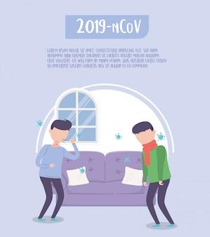Covid 19 quarantaine, mensen ziek in de woonkamer illustratie