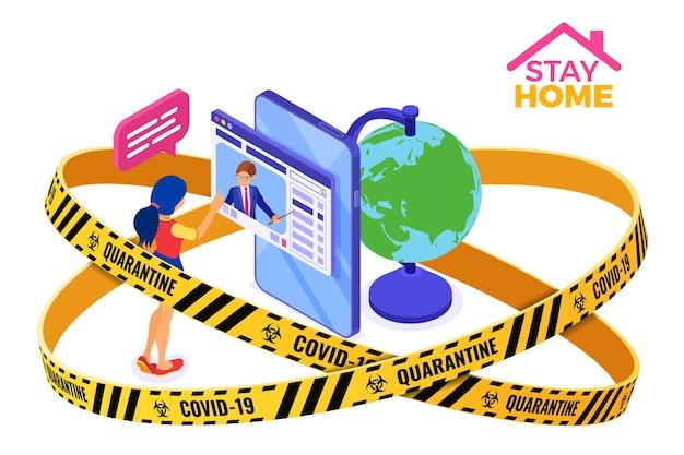 Covid-19 quarantaine thuis blijven online onderwijs of afstandsexamen met isometrisch karakter internetcursus e-learning vanuit huis meisje studeert op smartphone met leraar isometrisch onderwijs vector