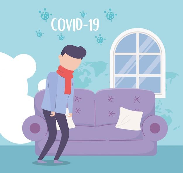 Covid 19 quarantaine, zieke man met sjaal woonkamer huis illustratie