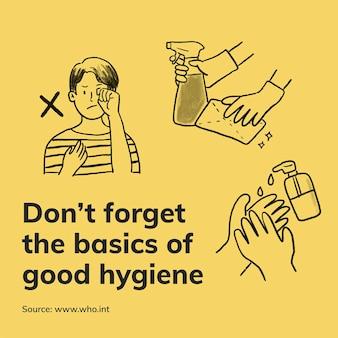 Covid 19 sjabloon voor goede hygiënerichtlijnen, afdrukbare vector richtlijnen voor preventie van coronavirus